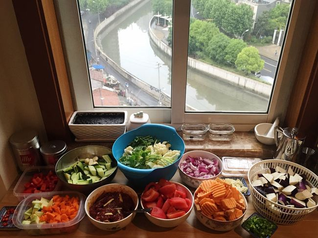 Preparation  Work Chinese Dinner Hua Cai Sweet Potatoes Pepper Carrots Zucchini Shrimps Beef Onion Garlic Bulbs Star Anise Chillis Egg Plant Tomatoes Chives Eggs... Rice Ginger Soysauce Spicy Black Bean Sauce Homemade Badass Dinner