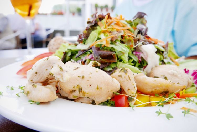 Close-Up Of Chicken Salad In Plate