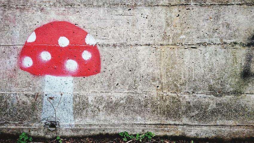 Street art in Basel Streetart Street Art Graffiti Graffiti Art Fly Agaric Fly Agaric Mushroom Toadstool Concrete Concrete Wall Background Switzerland Basel Street Art/Graffiti Red Close-up