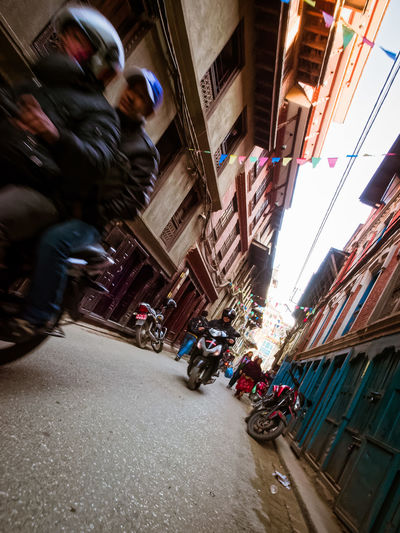 Alley Architecture Building Built Structure City City Life City Street Day Kathmandu, Nepal Lifestyles Motorcycle Outdoors Residential Building Speed Street The Way Forward
