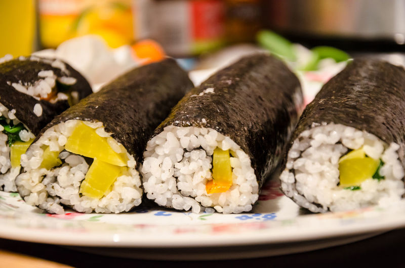 Homemade Japanese Food Korean Cuisine Low Angle View Close Up Close-up Day Food Food And Drink Fresh Freshness Gimbap Healthy Eating Indoors  No People Plate Ready-to-eat Seaweed Wrap Sushi