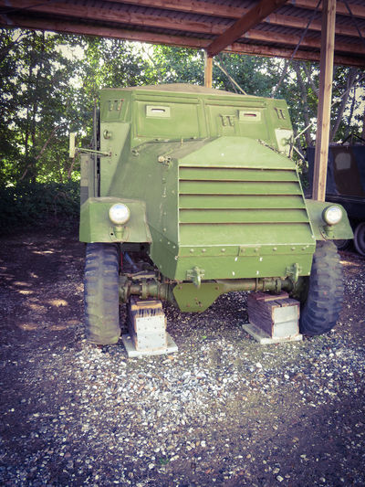 Outdoors Day Machinery Military Museum Technology Transportation Amored Car Vintage