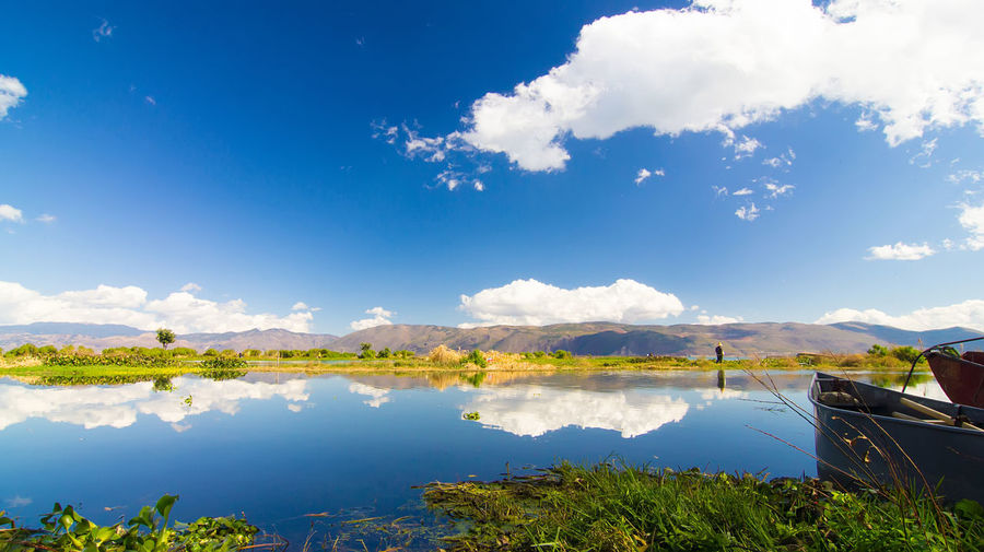 dali Reflection Nature Landscape Mountain Range Outdoors Sunlight Mountain Scenics - Nature Sky Water Beauty In Nature Lake