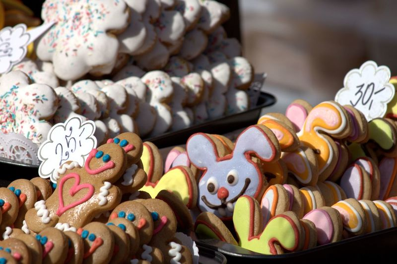 Baking Children Home Made Biscuits Display Faces Fresh Home Made Multi Colored Sweet Food