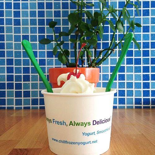 Yogurt Frozen Yogurt Chill Frozen Yogurt Plants Tile Cherry On Top Food Health Food Healthy Colorful Color Pop Green Blue