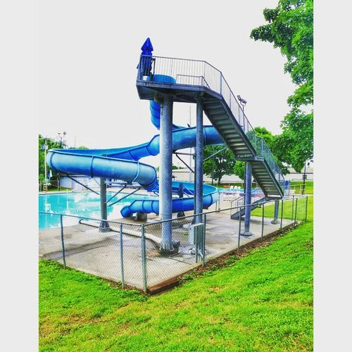 A vertical panoramic of the slide at lion's pool in Atchison Kansas. ........ Ks_pride Ipulledoverforthis Kansasphotos Kansas Summertime Summerfun Water Swimming