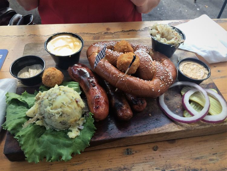 San Antonio Texas Travel Traveling Travelling Close-up Day DIP Drink Food Food And Drink Freshness German Food Healthy Eating High Angle View Indoors  Meat No People Plate Pretzel Ready-to-eat Sauerkraut Sausage Serving Size Table