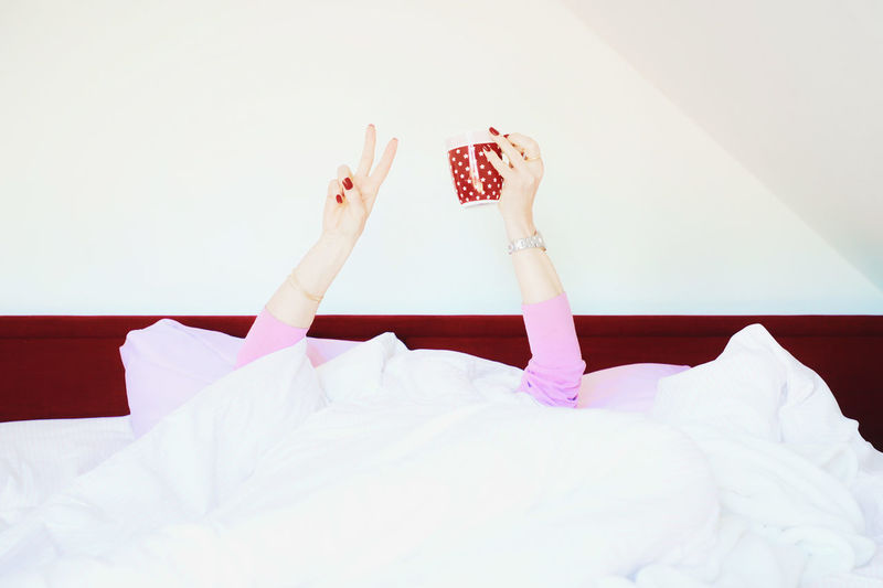 Coffee Coffee - Drink Breakfast Sunday Morning Mood Peace Sign Life Is Good Red Nail Polish Bed Indoors  One Person Relaxation Bedroom Women Real People Furniture Low Section Leisure Activity Body Part Human Body Part Adult barefoot Lifestyles White Color Lying Down Domestic Room Human Leg Human Arm Human Limb Arms Raised Human Foot International Women's Day 2019