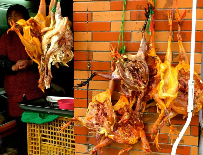 Barbecue Chickens China Photos China Streets Close-up Dried Chicken Food Food And Drink For Sale Freshness Grilled Hanging Chicken Market Outdoors Ready-to-eat Shanghai Streets