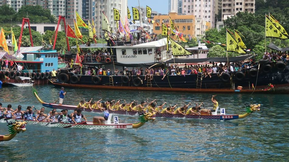 Large Group Of People HongKong Hongkong Photos Hong Kong Dragonboatfestival Dragonboatraces Dragonboat Aberdeen Festival