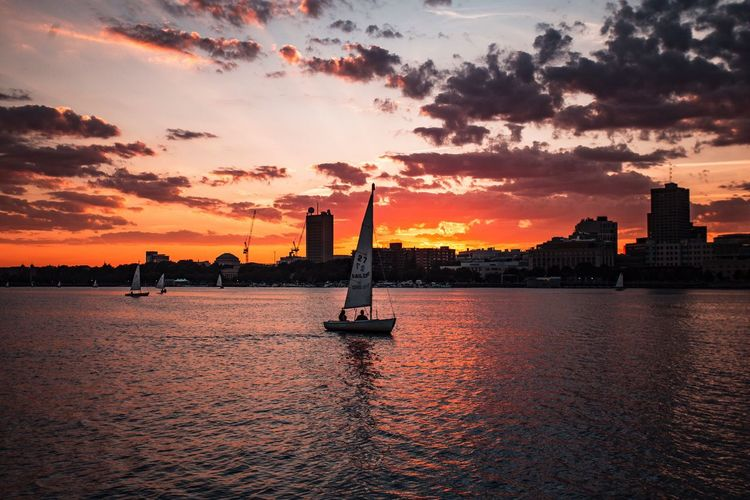 Sailing away into the harbor Boston Boston, Massachusetts Sunset Summer Summer Views Sunset_collection Sunset Silhouettes Landscape Landscape_Collection City City Life Boat River Water Water Reflections Water_collection Waterfront Sunset_captures Sunset_madness Canon Canonphotography Golden Hour Nature Photography Landscape_photography Skylovers