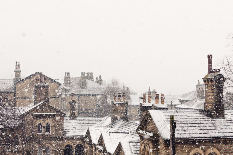 Architecture Chimneys City Cityscape Copy Space Freezing Frozen Houses Nature Weather Winter Yorkshire Beauty In Nature Cold Temperature Heritage No People Outdoors Roofs Rooftops Saltaire Snow Snowing Stone Village Vintage
