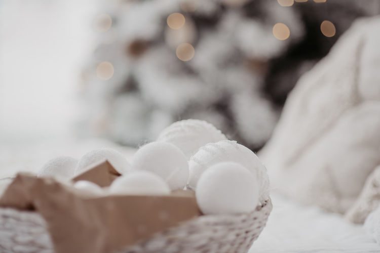 Close-up of ice cream in basket at home