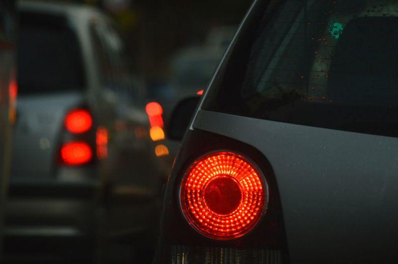 Close-Up Of Illuminated Car Tail Light At Night
