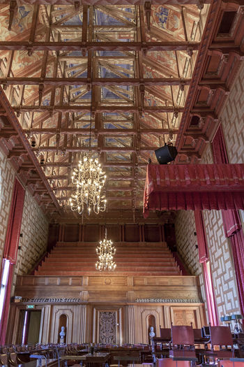Stockholm City House 22 Ragnar Östberg 1923 Arquitecture City Hall Council Chamber Nobel Prize Paneling Tourist Attraction  Wooden Ceiling Day Indoors  Kungsholmen Low Angle View No People Tourism Tower Travel Destinations
