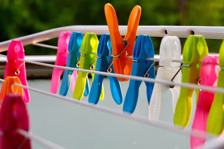 No Edit/no Filter No Filter Astia Fujifilm_xseries Multi Colored Clothespin No People Hanging Clothesline Day Plastic Focus On Foreground Clip Still Life Large Group Of Objects Close-up Selective Focus Nature Laundry Side By Side Group Of Objects Blue Variation Outdoors
