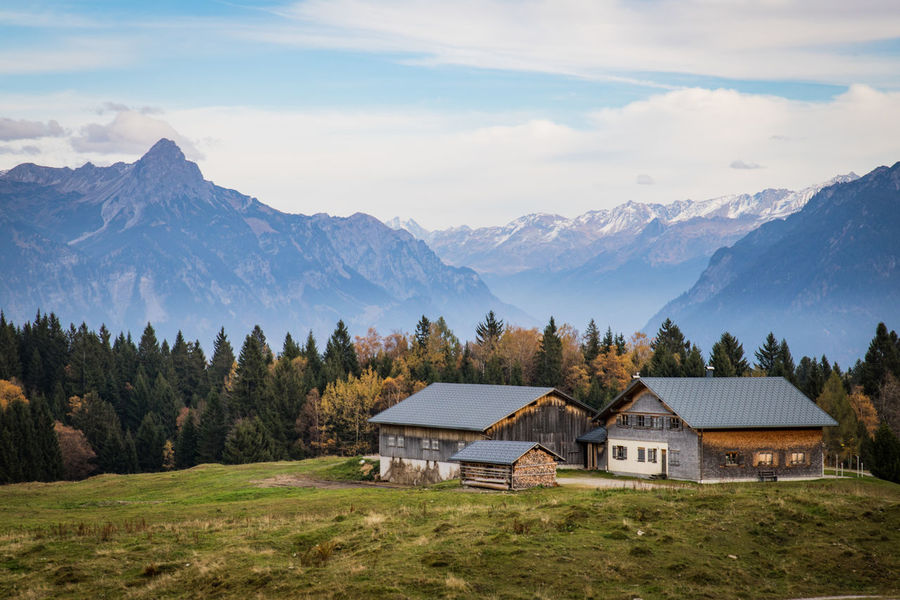 alm in the austrian moutains in autumn Alm Austria Autumn Alps Architecture Beauty In Nature Building Exterior Built Structure Day Grass House Hut Landscape Mountain Mountain Range Mountains Nature No People Outdoors Scenics Sky Tranquil Scene Tranquility Tree
