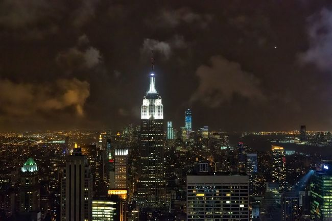 Empire State Building Manhattan New York City Nightphotography Architecture Building Exterior Built Structure City Cityscape Cloud - Sky Clouds Illuminated Modern Night No People Outdoors Sky Skyscraper