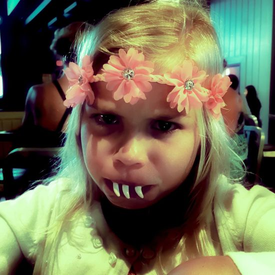 Young Girl Blonde Fake Teeth Flower Headband Portrait Florida Costume Angry Face The Portraitist - 2016 EyeEm Awards