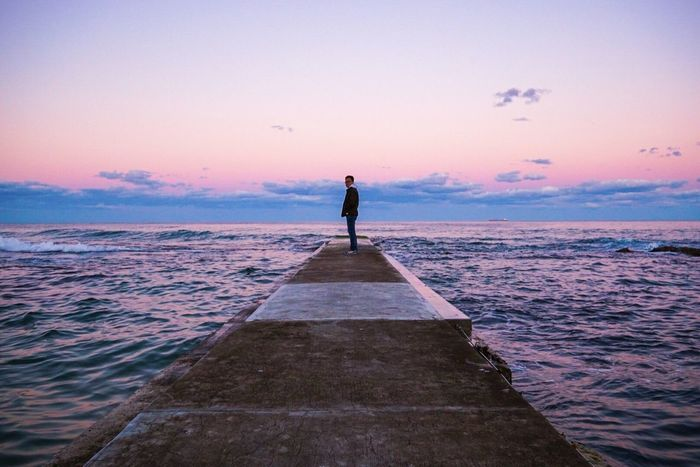 Sea Sunset Sky Horizon Over Water Scenics Beach Beauty In Nature Silhouette Tranquil Scene EyeEm Selects Travel Destinations Wave Sunset_collection Purple Sky The Week On EyeEm