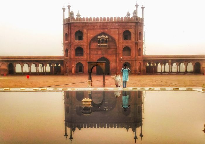 Arch Reflection Travel Destinations Bridge - Man Made Structure Built Structure Architecture Water History Clear Sky Travel Tourism Phoneography Getty EyeEm Gallery Pastel Power Delhiwale NCR ClickedByMe Edited By Me Newdelhi JamaMasjid Delhi6