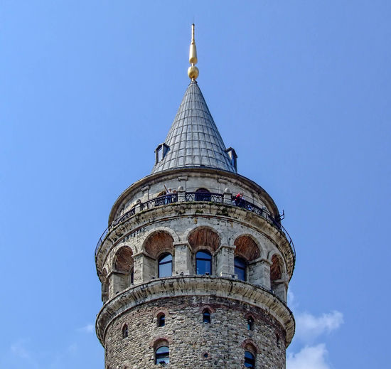 Galata Tower Architectural Feature Architecture Blue Built Structure Capital Cities  Culture Day Famous Place Galata Tower Galatakulesi High Section History Istanbul Turkey Low Angle View No People Outdoors Sky Tall Tall - High Tourism Tower Travel Destinations