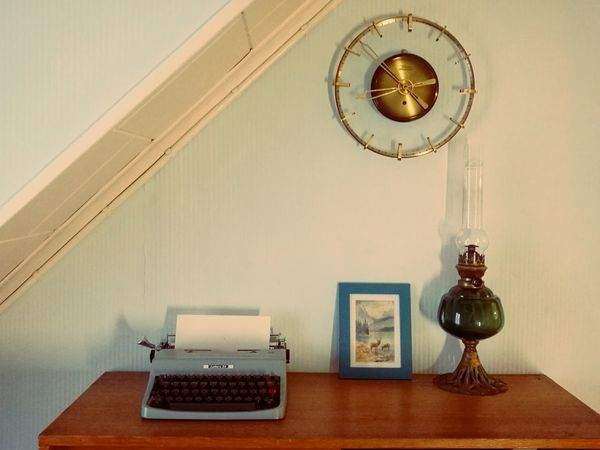Clock Indoors  Wall Clock Home Interior Old-fashioned No People Time Hanging Home Showcase Interior Domestic Room Clock Face Table Archival Day Vintage Vintage Style Midcenturystyle Midcenturyfurniture Typewriterporn Type Writer Lettera32 Oil Lamp Oldhouselove