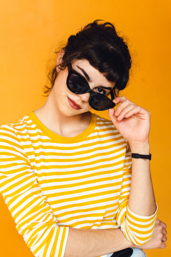 Casual Clothing Colored Background Fashion Glasses Indoors  One Person Portrait Sunglasses Yellow