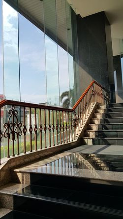 Staircase with the Sun light. Architecture Bridge - Man Made Structure Calm City Clear Day Decorations Design Elevated Walkway Hall Way Interior Ladders Lobby Moving Up No People Open Outdoors Railing Shadow Sky Stair Staircase Sun Light Through Glass Sunlight Welcome