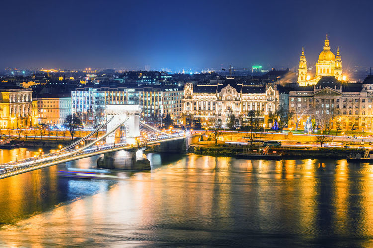 Budapest, Hungary Architecture Bridge Bridge - Man Made Structure Building Exterior Built Structure City Cityscape Connection Dusk Government Illuminated Night No People Outdoors Passenger Craft Reflection River Sky Transportation Travel Travel Destinations Water