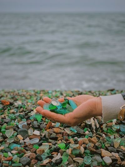 Person holding pebbles against sea