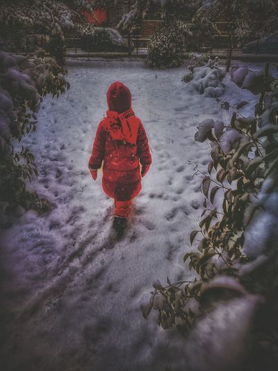 Warm Clothing Red One Person Full Length Outdoors Lifestyles Winter Childhood Rear View Real People People Day Cold Temperature Nature Istanbul Turkiye Dramatic Photo Istanbulove Winter