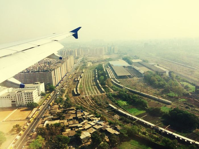 oldest transportation view from the most modern one! journey from old to New! Old To New Railways Mumbai Flying Architecture Outdoors Transportation Aerial View City Fog Sky