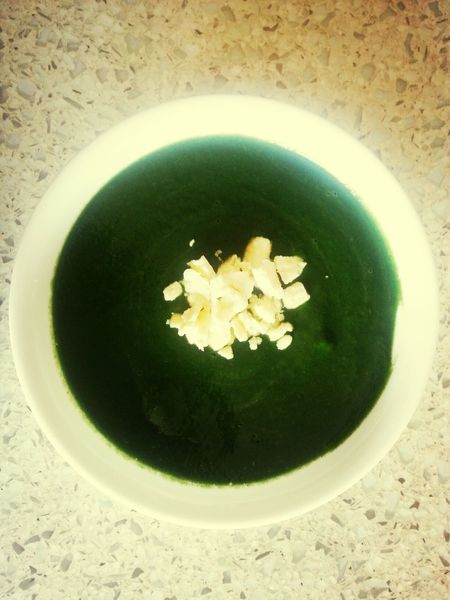 Spinach and Avocado soup with Feta.