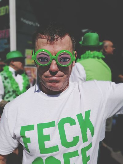Stpaddysday Looking At Camera Sunglasses One Person Green Color Togetherness City Life Party - Social Event Newlife💛