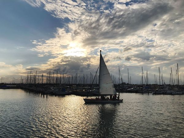 Sunset Traveling in Ashkelon Cloud - Sky Sky Nautical Vessel Water Sea Sailboat Waterfront Mode Of Transport Outdoors Mast Transportation Architecture Built Structure Nature No People Building Exterior Harbor Scenics Travel Destinations Port Marina Israel