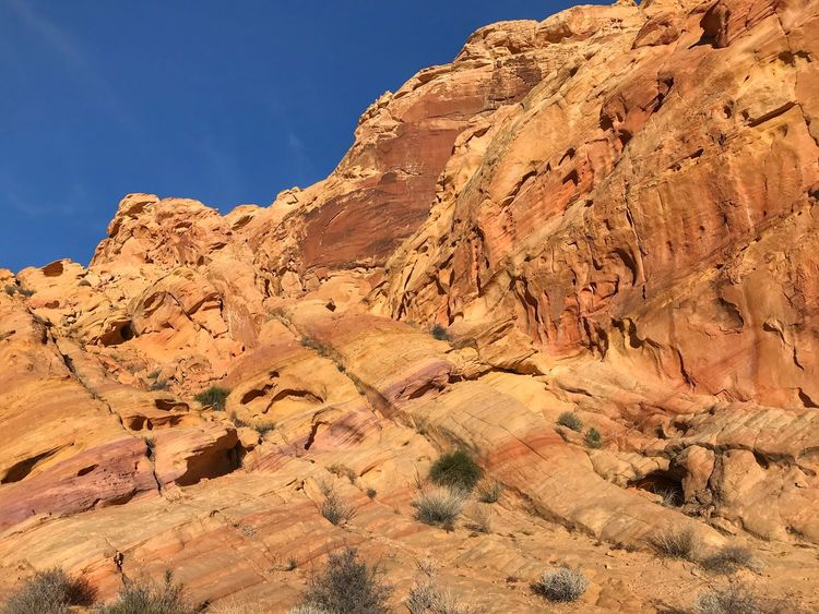 Multicolored hill at Valley of fire State Park No Filters Or Effects EyeEmNewHere Valley Of Fire State Park Sand Stone Formations EyeEm Selects Rock Formation Rock - Object Geology Physical Geography Nature Low Angle View Tranquility Beauty In Nature Arid Climate Day No People Outdoors Blue Rocky Mountains Travel Destinations Sky Tranquil Scene Scenics Sunlight Landscape
