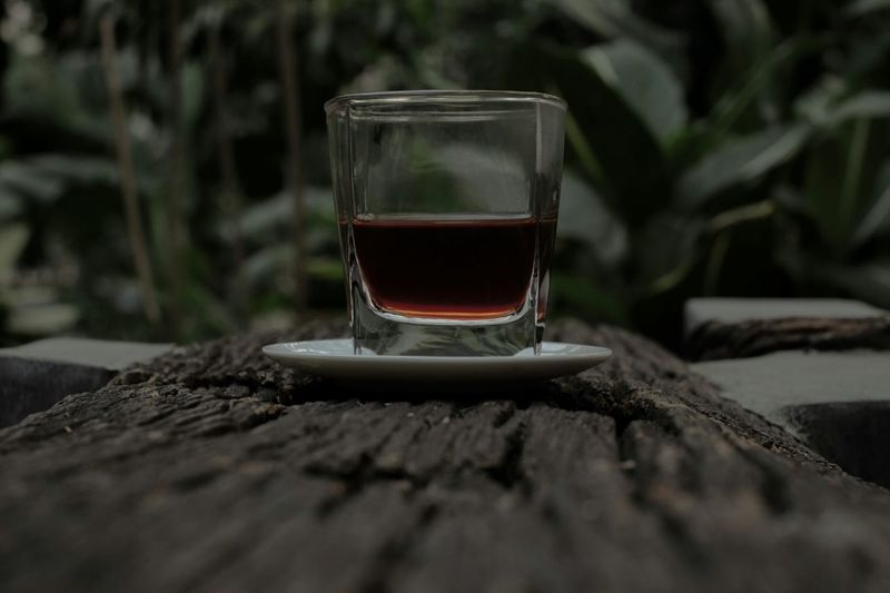 Close-Up Of Alcohol On Wooden Table Against Plants