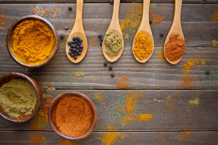 Indian Spices Directly Above Eating Utensil Food And Drink Freshness Herb Kitchen Utensil Seasoning Spice Spoon Still Life Variation