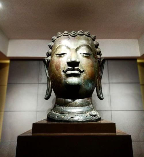 biggest Buddha Statue Sculpture Crown Gold Colored Human Representation Spirituality Art And Craft Close-up