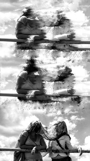 EyeEm Black And White Blackandwhite Photography Woman Water Young Women Togetherness Women Friendship Portrait Sitting Underwater Swimming Double Exposure Composite Image Multiple Exposure Collage Multi-layered Effect The Bigger Picture