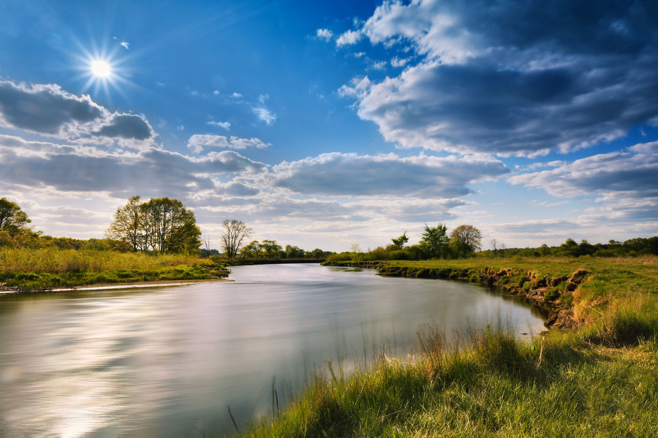 sky, cloud - sky, water, scenics - nature, beauty in nature, plant, tranquil scene, tranquility, grass, lake, nature, non-urban scene, no people, sunlight, reflection, sun, tree, environment, outdoors, lens flare
