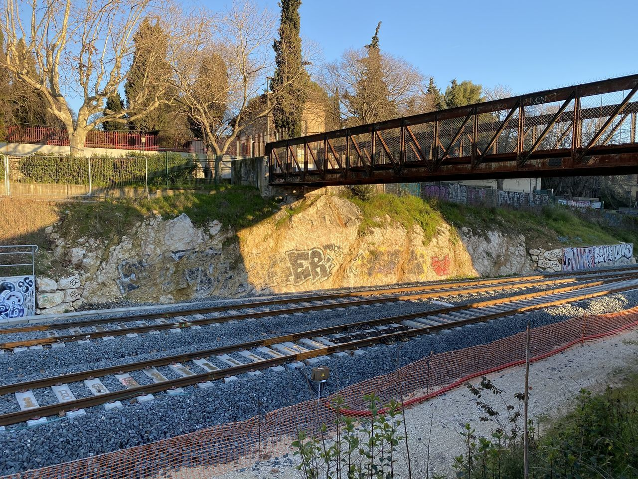 water, transportation, connection, bridge, architecture, bridge - man made structure, plant, tree, nature, river, no people, built structure, day, sky, outdoors, rail transportation, railing, scenics - nature, motion, flowing water, track, flowing