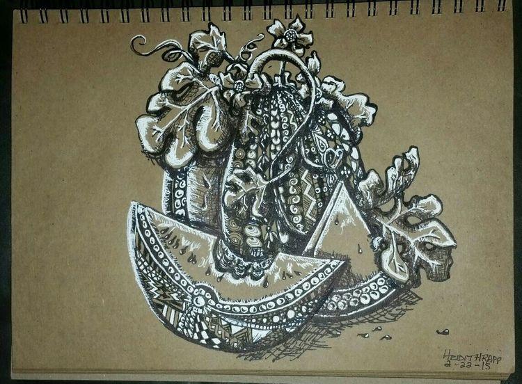 Mixedmedia Zentangle Gelpen Pen Brownpaper