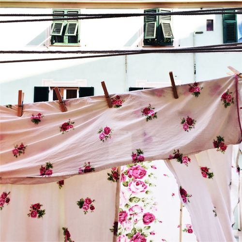 Bed sheet drying on clothesline