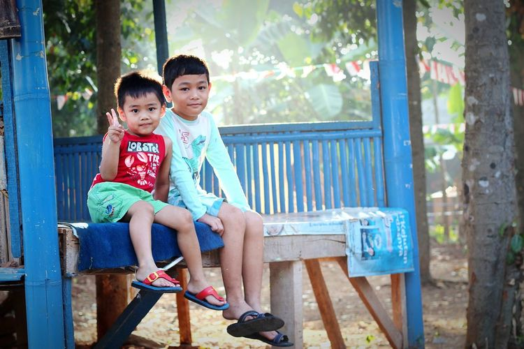 Sitting Childhood Child Full Length Day Happiness Bonding Togetherness People Two People Smiling Sunlight Leisure Activity Males  Outdoors Lifestyles Boys Adult Cheerful Real People MySON♥ Love ♥ Ezzra