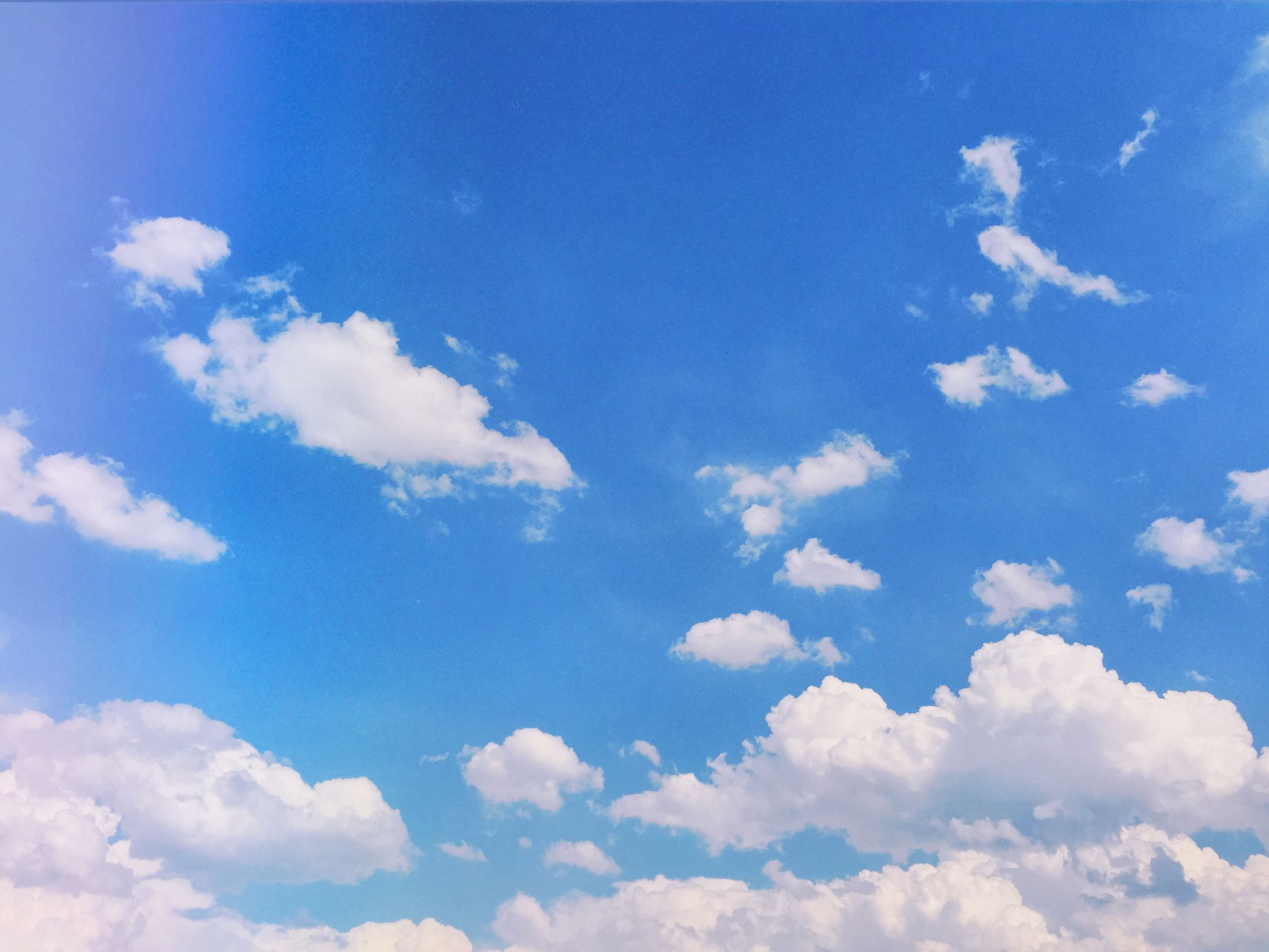blue, sky, low angle view, sky only, beauty in nature, tranquility, scenics, cloud - sky, nature, tranquil scene, cloudscape, white color, cloud, backgrounds, idyllic, fluffy, cloudy, day, outdoors, full frame