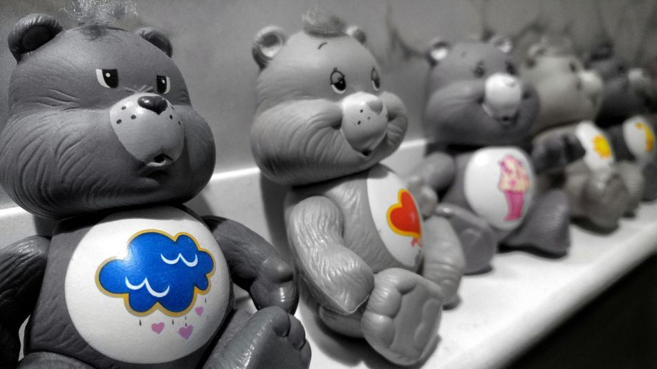 Care Bears... Remember these little guys back in the day! Close-up No People Figurine  Isolated Color Colorsplash Shadows & Lights EyeEm Best Shots EyeEmBestPics EyeEm Macro Photography Eyeemphotography Check This Out EyeEmBestEdits Blackandwhite EyeEm Best Shots - Black + White Care Bears Toy Retro Memory Lane Childhood Yesterday Yesteryear  1980 Fond Memories Angle
