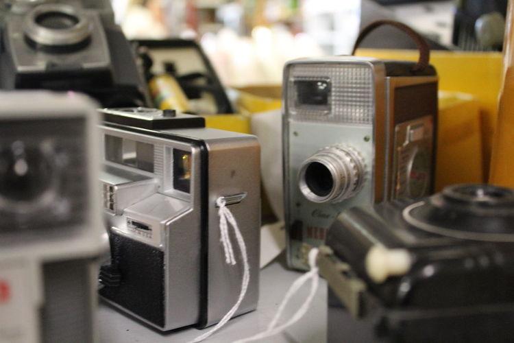 Antique cameras on display