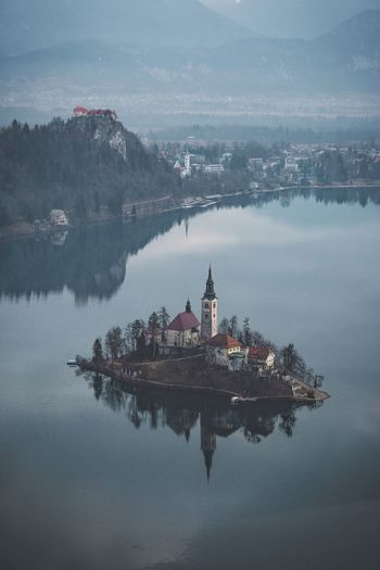 Elevated Scenic View Of Lake Bled